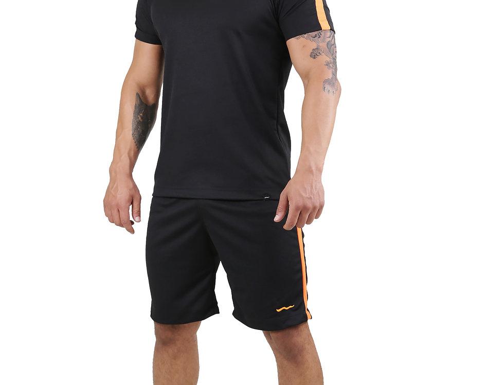 Conjunto Dry Fit Academia Camisa E Bermuda Running Atletico Preto com Laranja