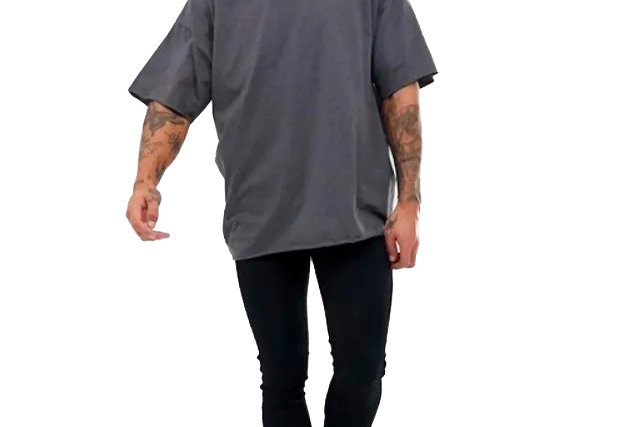 Camisa Basica Lisa Gola V Funda 100% Algodão Oversized Swag Cinza Escuro