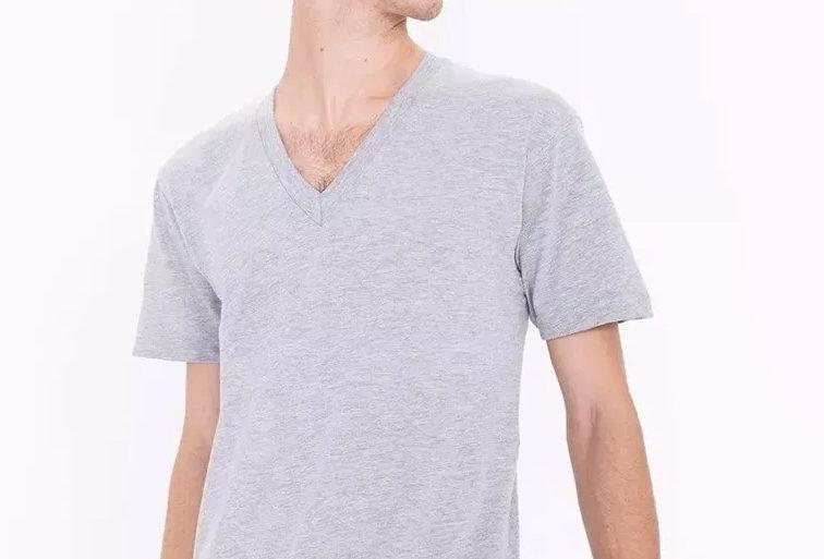 Camisa Básica Lisa Gola V Rasa 100% Algodão Cinza