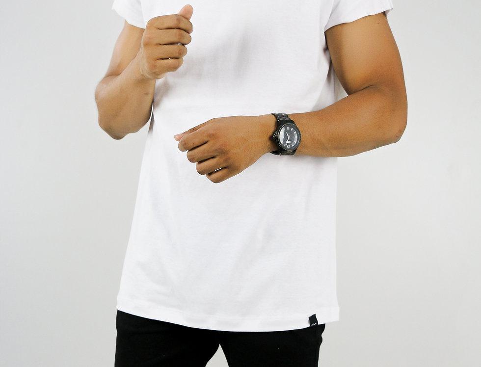 Camiseta Sem Manga Oversized Longline Reta Algodão Meio Swag Branca