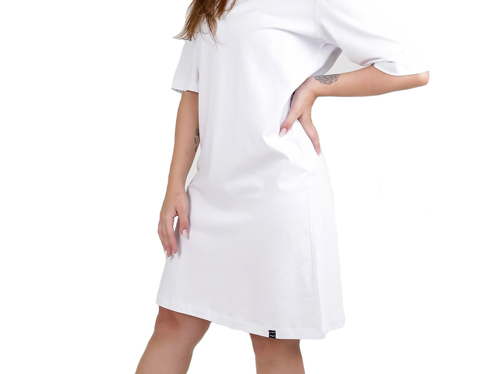 Vestido T-Shirt 100% Algodão Barra Reta Branco