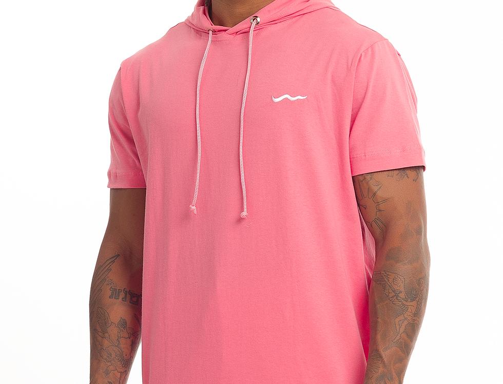 Camisa Longline Oversized Com Capuz Meio Swag Básica Bordada Rosa