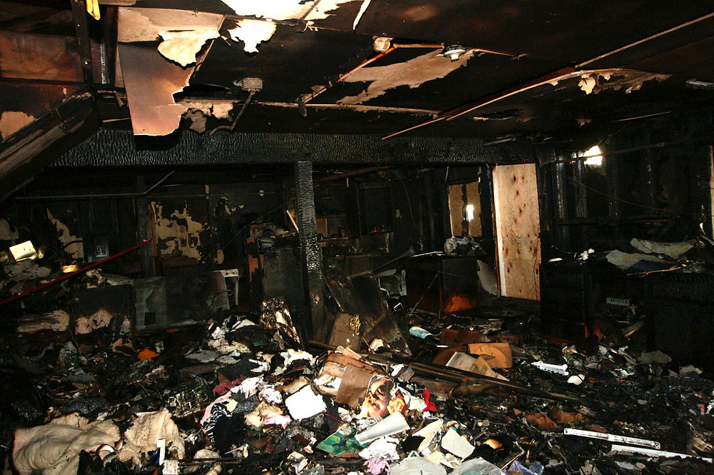 Fire damage to the interior of a home