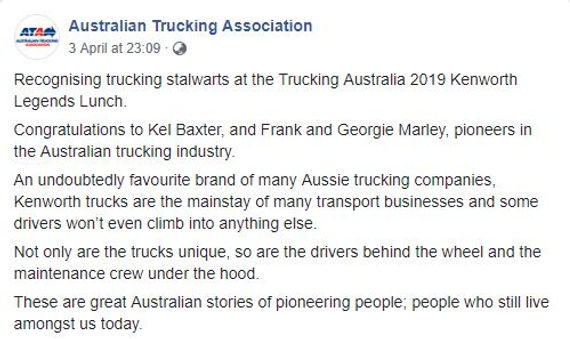 ATA Kenworth Legends Lunch 2019 Kel Baxt