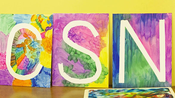 Bright painting of the letters CSN