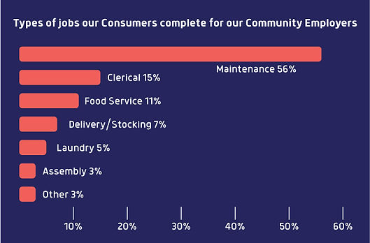 Bar graph: Types of jobs our clients complete for our employers.
