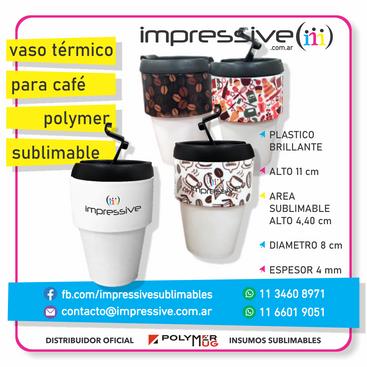 VASO TERMICO PARA CAFE PLASTICO SUBLIMAB