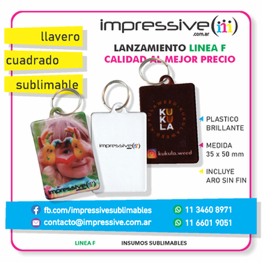 LLAVERO RECTANGULAR SUBLIMABLE LINEA F.p