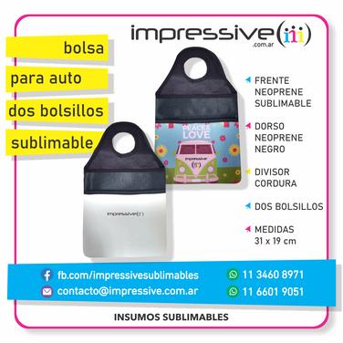 BOLSA PARA AUTOS DOS BOLSILLOS SUBLIMABL
