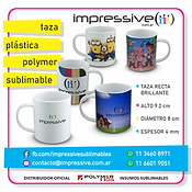 TAZA PLASTICA POLYMER SUBLIMABLE