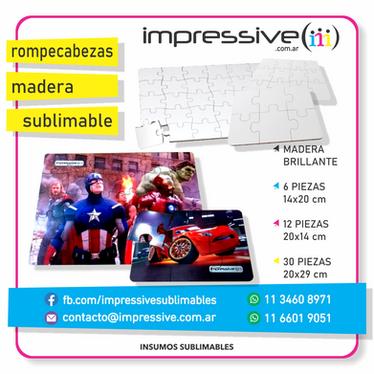ROMPECABEZA MADERA BRILLANTE SUBLIMABLE.