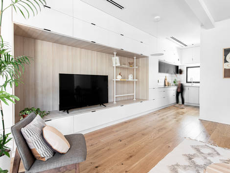 Living room with storage wall