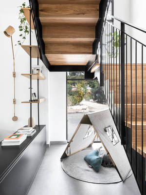 Iron and wooden stairs