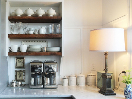 A  case for lamps in the kitchen