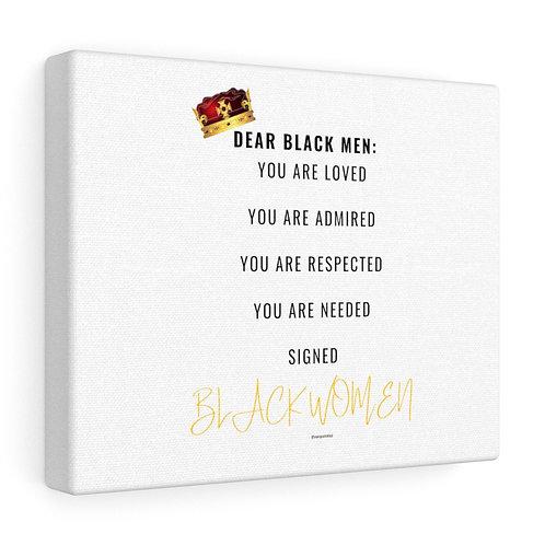 Dear Black Men recognition canvas