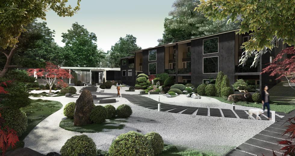 Raku Ichi Residences inner Japanese garden