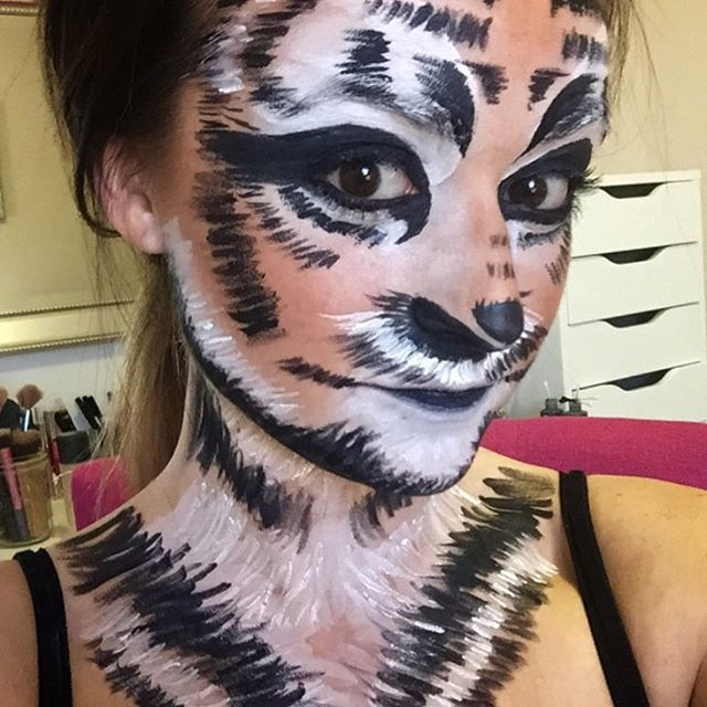 Tiger Halloween Makeup video now up on my YouTube! (Link in IG bio) !! _nyxcosmetics  White Liquid L