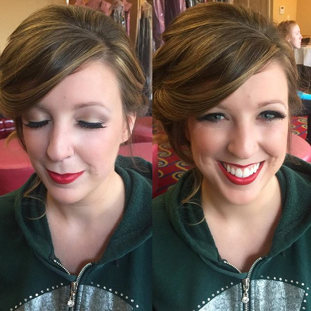 A past bride I got to pretty up with a great red lip as a bridesmaid this time! 😍 _dinairofficial A