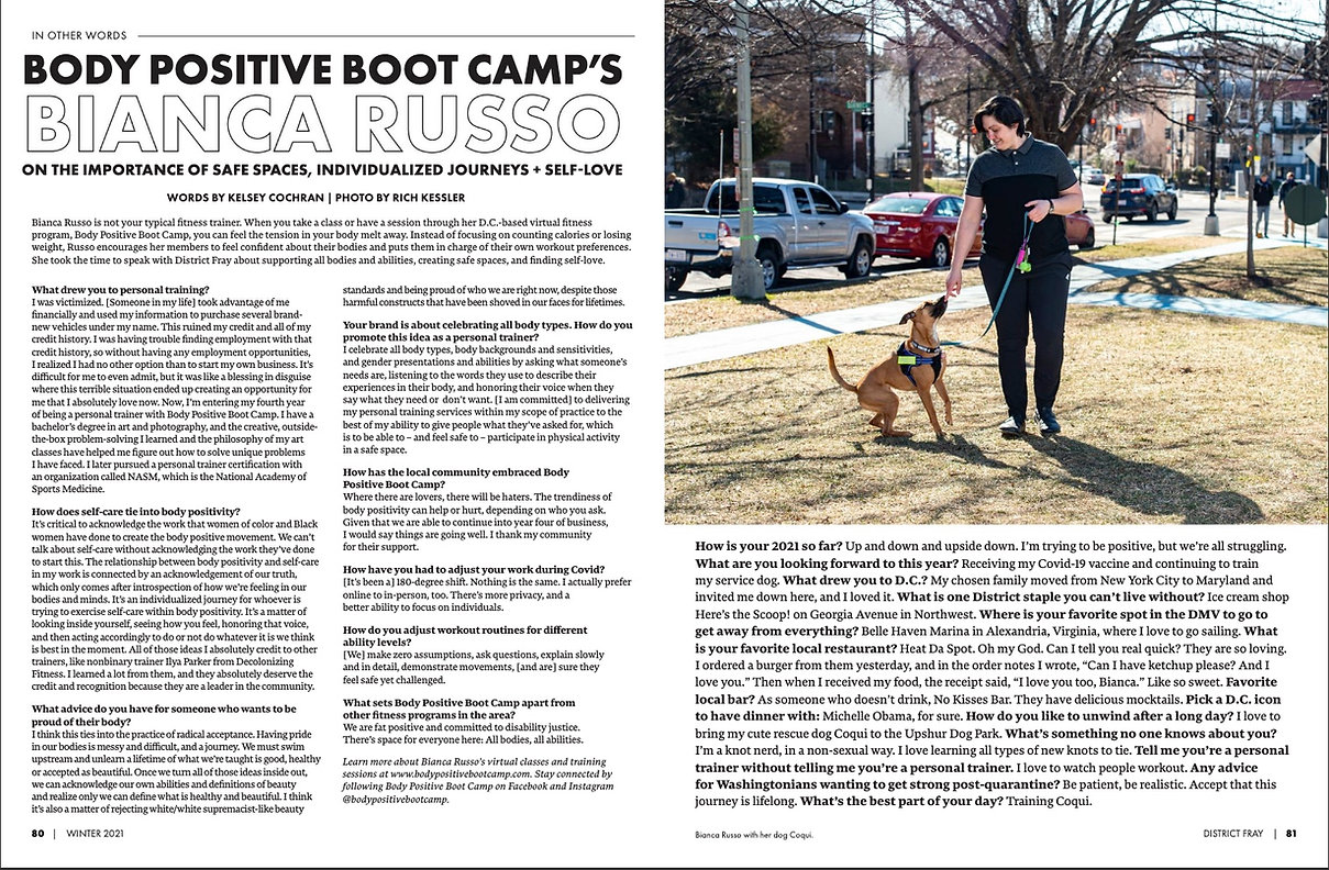 District Fray Magazine: Body Positive Boot Camp's Bianca Russo