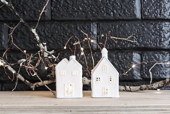White Ceramic Double Peak House