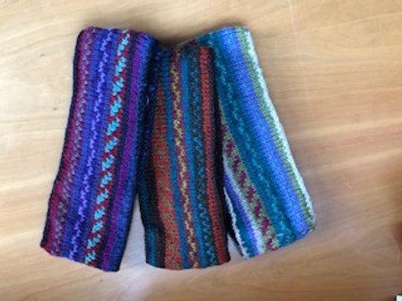 Hand Knit striped lined Headbands
