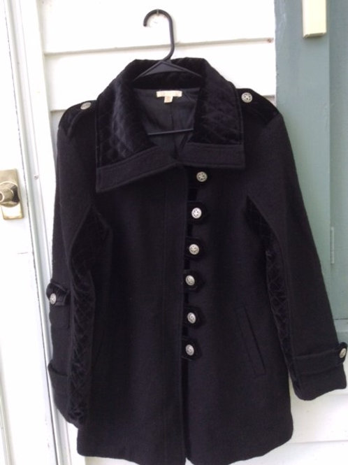 Black Hip Length Boiled Wool Coat with Velvet Trim