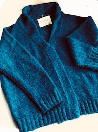 Waist length Alpaca Wool Knit Sweater with a Shawl Collar