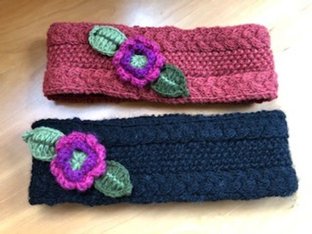 Hand Knit LIned Headband with Flowers