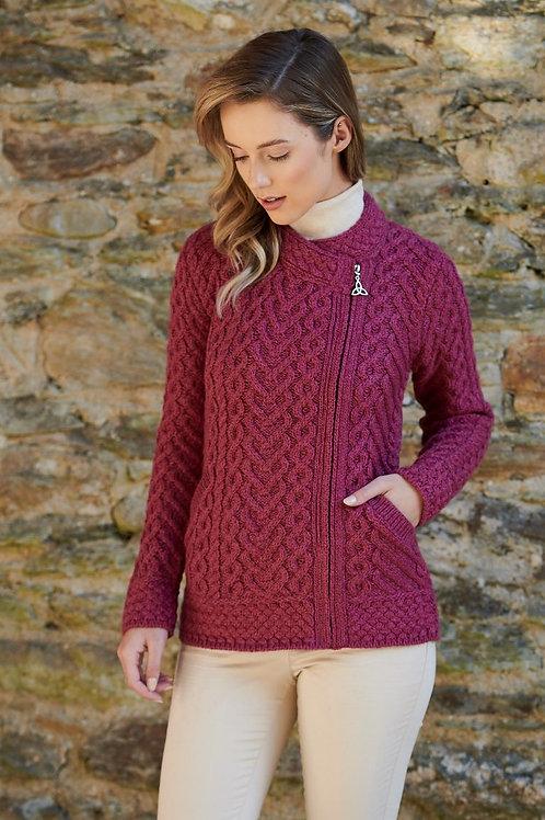 Magenta merino Wool Super Wash Side Zip