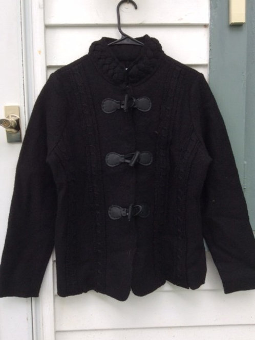 Black Boiled Wool Short Sweater Jacket with Cable Trim