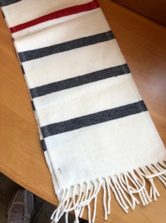 Bone White Wool Scarf with Black and Red Stripes