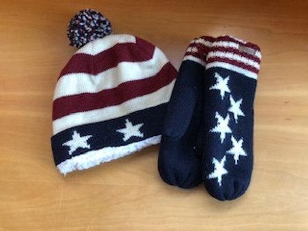 Stars and Stripes Wool Knit Beanie & Mittens