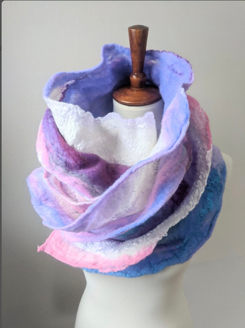 Pink and Lavender Ruffled Scarf