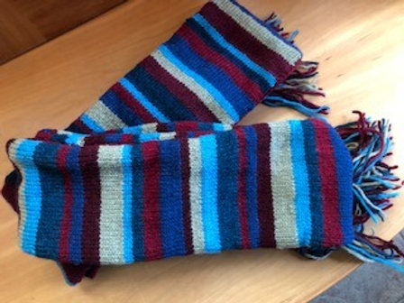 Knit Striped Wool Fringed Scarf