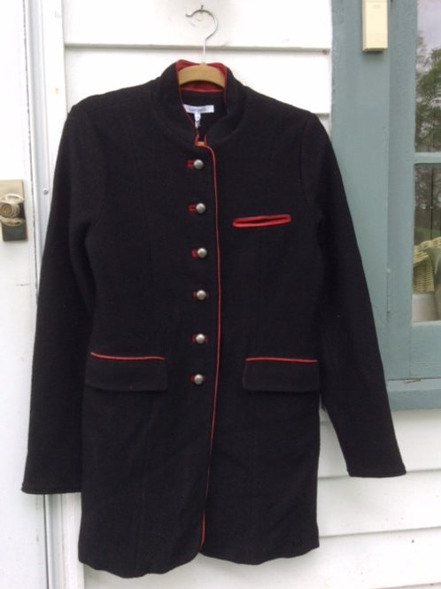 Black Boiled Wool Hip Length Coat with Red Trim