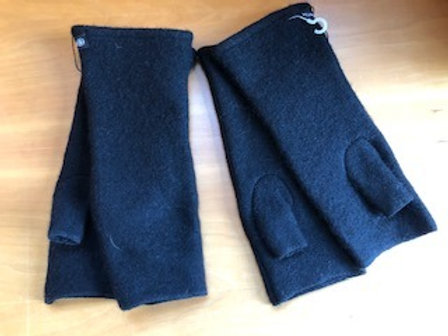 Asian Eye Black felted Wool Fingerless Gloves