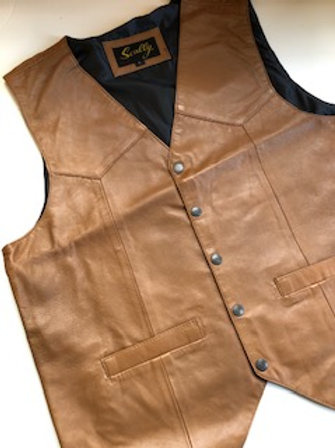 Tailored Sheepskin Snap Front Vest with Pockets