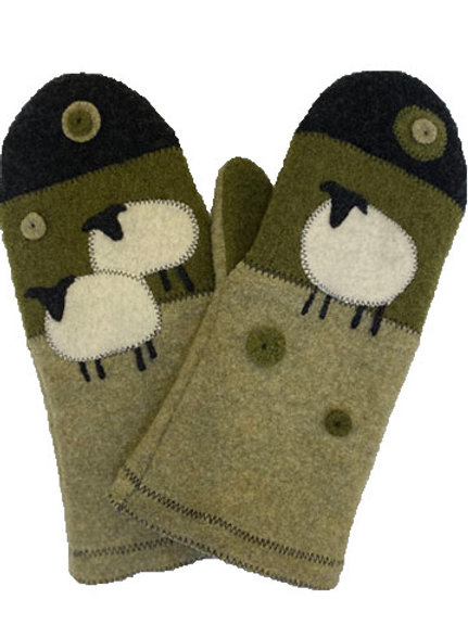 100% Handcrafted Wool Mittens with Sheep Design