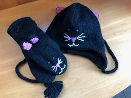 Kitty Wool Knit Hat and Mittens