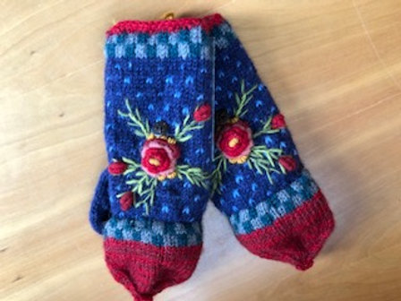 Hand Made Wool Embroidered Mittens