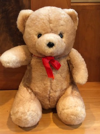 Sheepskin Bear with Red Bow
