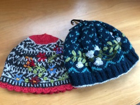 Hand Knit and Embroidered Beanie Hats