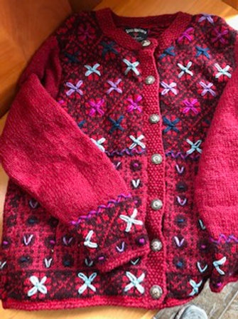 Hand Knit-Embroidered Wool Sweater