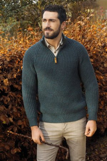 Men's Fisherman Rib Knit Sweater with 1/4 Zip