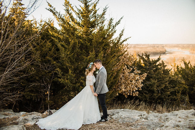 bride and groom mountain
