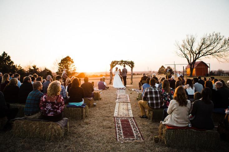 sunset wedding ceremony