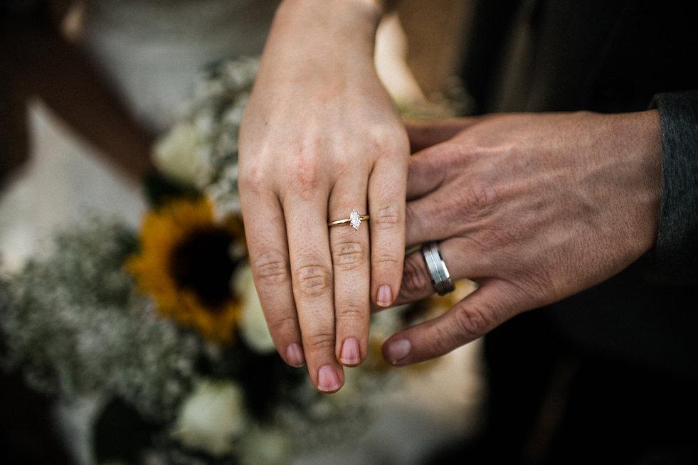 bride and groom rings flowers