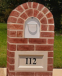 Brick Column Mailbox Archtop Style with Address Plaque