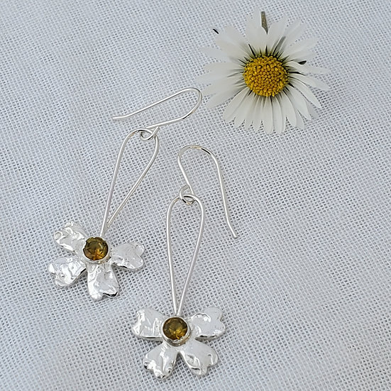 Silver flower earrings,yellow cubic zirconia