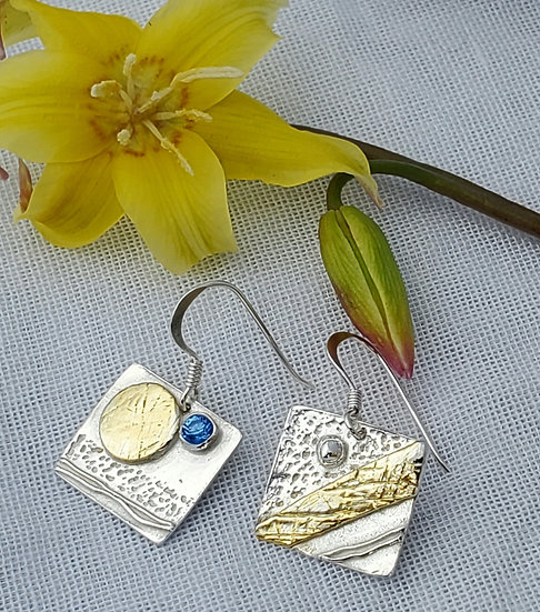 Silver, gold coated, mismatch earrings with cubic zirconia